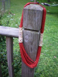 Vintage multi strand Vintage Ox Blood Red Orange Coral and Carved Bone Necklace on Etsy, $300.00