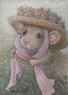 "Art by Lynn Bonnette: ""Victorian Mouse Hat with a Pink Bow"""