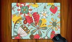 Flower in Blue Mouse Pad Cloth Surface Natural Rubber by ATHiNGZ, $11.99