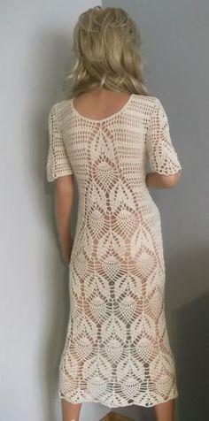 Omena-bawełniana sukienka by ALDOARThandmade on Etsy Crochet Beach Dress, Crochet Wedding Dresses, Crochet Tunic, Freeform Crochet, Crochet Clothes, Knit Dress, Crochet Bikini, Dress Skirt, Crotchet Styles