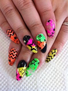 kawaii '80's nails..do NOT like the dagger look!