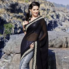 Black Faux Chiffon Jacquard and Brasso Saree with Blouse