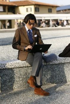 superb palette, the brown jacket, brown shoes, Gray pants, ice blue shirt and sealed with navy tie. from The Sartorialist