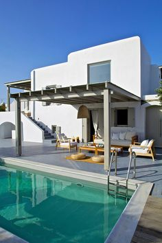 Mesmerizing villa offers tranquil escape on Mykonos Future House, My House, Mykonos Villas, Outside Seating, Hotel Room Design, Greek House, Modern Pools, Beautiful Villas, Pool Houses