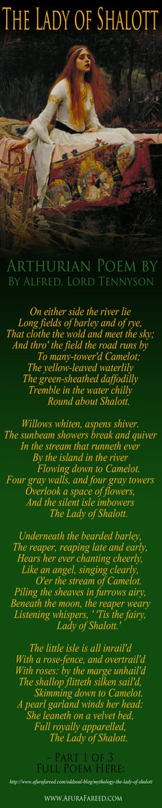 "Arthurian Mythology ""The Lady of Shalott"" poem by Alfred Lord Tennyson 