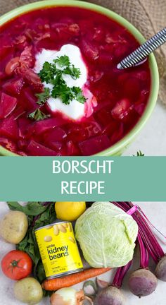 Borscht soup recipe made with cabbage, tomato, potatoes and white kidney beans. Hearty beet soup great for lunch or dinner. Beet Borscht, Borscht Recipe, Borscht Soup, Beet Soup, Soup And Salad, Chicken Soup Recipes, Cabbage Recipes, Chicken Flavors, Sour Soup