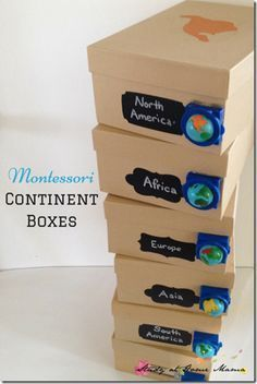Study Geography with Continent Boxes - such a fun, hands on learning idea for preschool, kindergarten, 1st grade, 2nd grade, 3rd grade, and 4th grade students (homeschool, history)