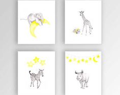 Watercolor Animal Prints for Nursery or Kids Room, Set of 4 Nursery Art Canvases, Baby Girl Nursery Decor - S452