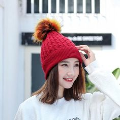 Autumn Winter Warm Caps Ladies Crochet Wool Knitted Fur Hat!  hats & gloves|hats|gloves|hats for women|gloves for women|summer hats|summer hats beach|summer hats outfit|hats boho|hats cute