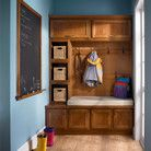 KraftMaid Cabinetry Warm & Earthy Mud Room with Chalkboard for todos, family notes