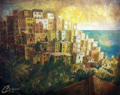 cinque terre original painting - $445.00