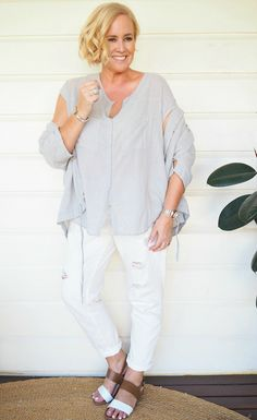 frockk Bianca linen cotton mix jacket over frockk Holly linen cotton mix top (from Bell & Ford) | Bohemian Traders boyfriend jeans | FRANKiE4 Footwear sandals | Uberkate ring