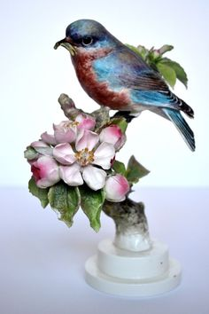 Royal Worcester Doughty American Birds: Female Bluebird and Apple Blossoms