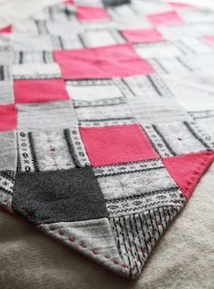 SALE upcycled wool baby blanket VENTE couverture by ouistitine, $104.00