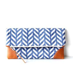 Herringbone Indigo foldover clutch/ zipper clutch/nappy wallet