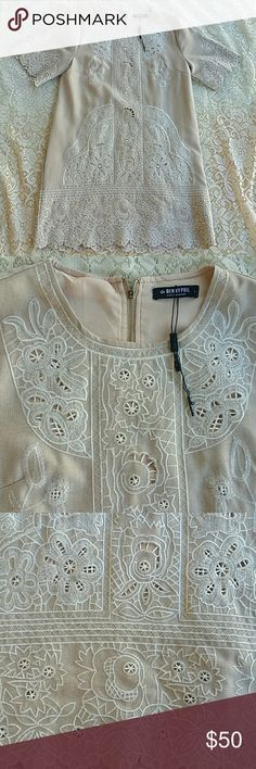 Nude Floral Embroidered Shift Mini Dress L Gorgeous intricate floral embroidery throughout  Simple and classic shift silhouette  Nude colored dress with white embroidery  Mini length Looks like it's never been worn since there is a little tag attached Made by designer Benny Phil In very good condition benny phil  Dresses Mini