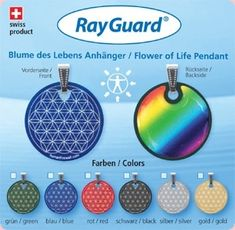 RayGuard Anhänger Blume des Lebens 6 Stück in verschiedenen Farben