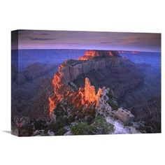 Nature Photographs Wotans Throne at Sunrise from Cape Royal, Grand Canyon National Park, Arizona Photographic Print on Wrapped Canvas