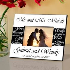 Personalized Mr. and Mrs. Wedding Picture Frame, this elegant black and white wedding-themed photo frame provides the ideal place to highlight a favorite wedding or honeymoon photo.  The design is simple yet classic and is a fitting tribute to the new Mr. and Mrs. and the joy of their special day.