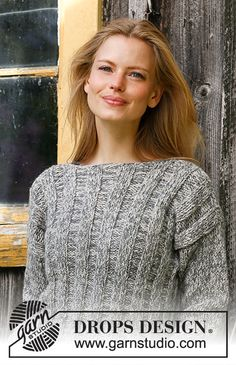 Free knitting patterns and crochet patterns by DROPS Design Drops Design, Sweater Knitting Patterns, Free Knitting, Crochet Patterns, Knitting Sweaters, Magazine Drops, Dress Out, Sweater Making, Ribbed Sweater