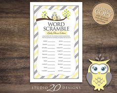Instant Download Yellow Owl Word Scramble Baby by Studio20Designs
