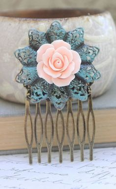 Pink Rose Comb Flower Hair Combs... I WANT A COMB LIKE THIS