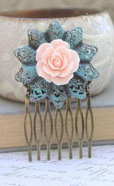 Pink Rose Comb Flower Hair Combs Bridal Wedding