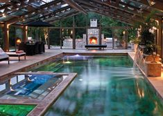 indoor and outdoor pool that are separated only by a \