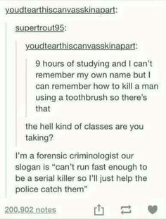 The joys of being a forensic science major