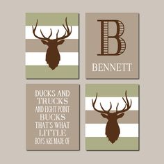 Deer Nursery Wall Art Prints Or Canvas Boy Decor Theme Rustic Country Pictures Bedroom Set Of 4