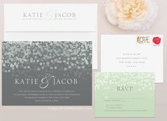 This printed modern wedding invitation set includes:  - Invitation Card (A7 5 x 7)  - RSVP Card (4Bar 4 7/8 x 3 1/2)  - Mailing Envelope with
