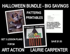 Halloween Lessons Bundled gives you three fun activities for the elementary art room, grade level classroom, or home school. The bundle includes 3 PDF lesson plans, photos, step-by-step directions, optional patterns, and language arts follow-ups, and saves the buyer $1.50 over the cost of buying the 3 lesson plans individually.Halloween is a holiday full of imagination, and these projects abound with creativity!