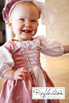 Childrens Renaissance Medieval Court Lil' Ren Outfit with chemise, overdress and muffin cap