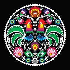 Folk Embroidery Patterns Polish Floral Embroidery With Roosters - Traditional Folk Pattern . - - Millions of Creative Stock Photos, Vectors, Videos and Music Files For Your Inspiration and Projects. Polish Embroidery, Folk Embroidery, Learn Embroidery, Floral Embroidery, Embroidery Patterns, Machine Embroidery, Art Patterns, Bordado Popular, Polish Folk Art