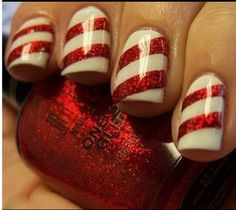 Candy cane sparkly nails!! Super cute for the holidays & Christmas! Or paint all fingers red and just do candy cane ring fingers. <3
