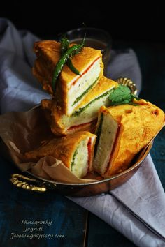 Jagruti's Cooking Odyssey: Three layer Deep fried Bread Stuffed with potatoes and chutneys