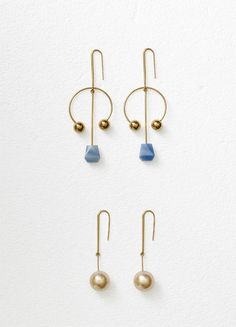 Celine Dot mixed arc earrings in azul macaba and gold brass