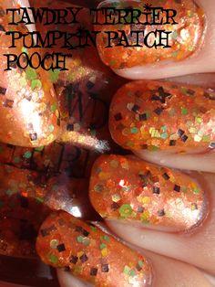 "@TawdryTerrier ""Pumpkin Patch Pooch"" in the sun - available at https://www.etsy.com/shop/TawdryTerrier #nailpolish #halloween #tawdryterrier #indienailpolish"