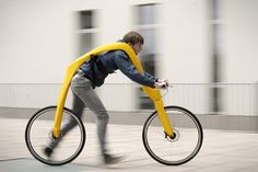 Fliz is an amazing new bike prototype from Germany. Your body hangs from a harness and you can run to power it with your feet!