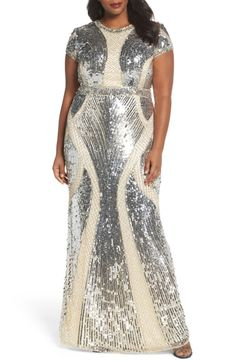 Find Mac Duggal Jewel Neck Sequin Gown (Plus Size) online. Shop the latest collection of Mac Duggal Jewel Neck Sequin Gown (Plus Size) from the popular stores - all in one Plus Size Formal Dresses, Plus Size Gowns, Evening Dresses Plus Size, Evening Gowns, Diva Fashion, Royal Fashion, Fashion Outfits, Fashion Ideas, Plus Size Womens Clothing