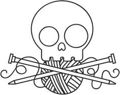 Skully Knitting, Totenkopf mit Stricknadel, Wolle