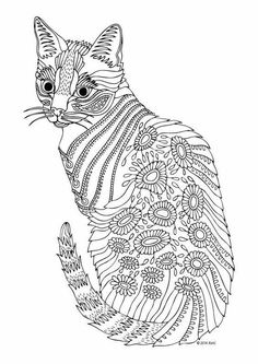 Detailed Flowered Cat Coloring Page See the category to find more printable coloring sheets. Also, you could use the search box to find what you want. Dog Coloring Page, Adult Coloring Book Pages, Flower Coloring Pages, Animal Coloring Pages, Printable Coloring Pages, Coloring Pages For Kids, Coloring Sheets, Coloring Books, Mandala Art