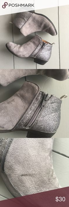 Gray Glitter Booties Excellent used condition, Gap gray suede and glitter booties with side zip. My daughter grew out of these too fast so she wasn't able to get a lot of use out of them! Paid $40 at Gap! See photos for signs of wear. Small black mark on suede part of one boot and white mark on glitter part. Please make an offer, ignore price!! GAP Shoes Boots