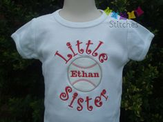 Little Sister Baseball - Softball Shirt or Onesie with Free Personalization. $21.00, via Etsy.