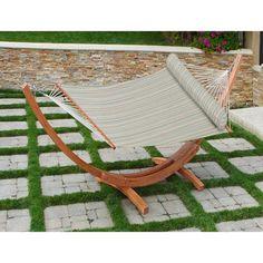 big daddy hammock set in bay breeze stripe by rst brands red star traders big daddy wood frame hammock set with sunbrella      rh   pinterest