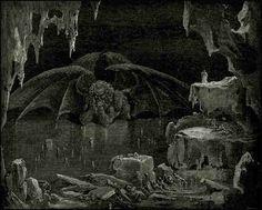 Gustave Dore - Lucifer 지옥의 제왕인 루시퍼가 죄인들을 벌주는 무시무시한 형상이 아닌 턱을 괴고 고민에 빠져있는 모습으로 표현되어있다. 왜 이렇게 표현할 것일까? 지옥의 맨 밑바탕인 인간의 욕망의 끝, 가장 고민스러운 부분이기 때문에 이렇게 표현한 것이 아닐까?
