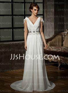 Wedding Dresses - $163.39 - A-Line/Princess V-neck Court Train Chiffon Wedding Dress With Ruffle Beadwork Appliques (002011526) http://jjshouse.com/A-Line-Princess-V-Neck-Court-Train-Chiffon-Wedding-Dress-With-Ruffle-Beadwork-Appliques-002011526-g11526