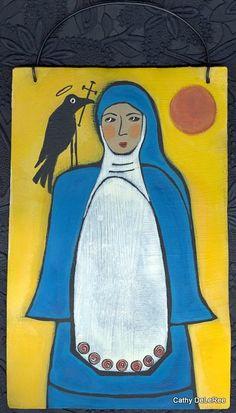 Blue Nun & Blackbird  OutSider Folk Art  Original Metal by CathyDeLeRee, $40.00