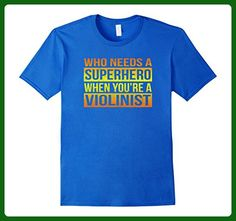 Mens Who Needs a Superhero / Violinist T-Shirt (Gradient) Small Royal Blue - Superheroes shirts (*Amazon Partner-Link)