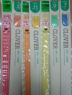 ハンドメイド クロバー編み針4本針カラーセット Handmade knitting needle ¥500yen 〆04月23日